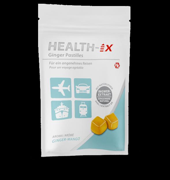 Produktverpackung der Health-iX Ginger Pastilles